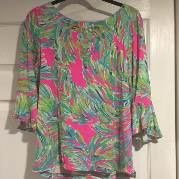 "433441db4a6897 Lilly Pulitzer Tops - Lilly Pulitzer Fontaine Top in ""Shady Lady"""